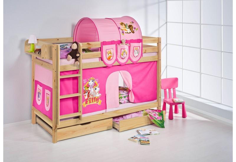 Literas caballeros y princesas natural con cortinas filly oferta dos somiers gratis - Caballeros y princesas literas ...