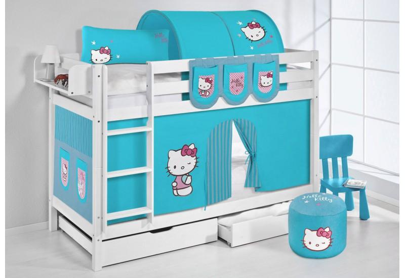 Literas caballeros y princesas blanca con cortinas hello kitty azul oferta dos somiers gratis - Caballeros y princesas literas ...