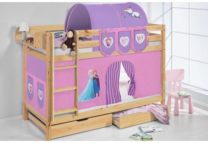 Literas caballeros y princesas natural con cortinas frozen lila oferta dos somiers gratis - Caballeros y princesas literas ...