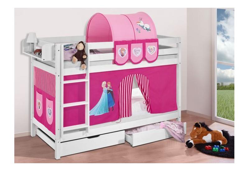 Literas caballeros y princesas blanca con cortinas frozen rosa oferta dos somiers gratis - Caballeros y princesas literas ...