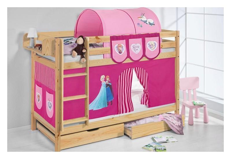 Literas caballeros y princesas natural con cortinas frozen rosa oferta dos somiers gratis - Caballeros y princesas literas ...