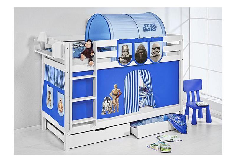 Literas caballeros y princesas blanca con cortinas star wars azul oferta dos somiers gratis - Caballeros y princesas literas ...