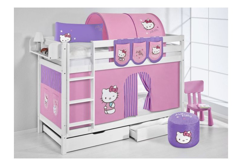 Literas caballeros y princesas blanca con cortinas hello kitty lila oferta dos somiers gratis - Caballeros y princesas literas ...