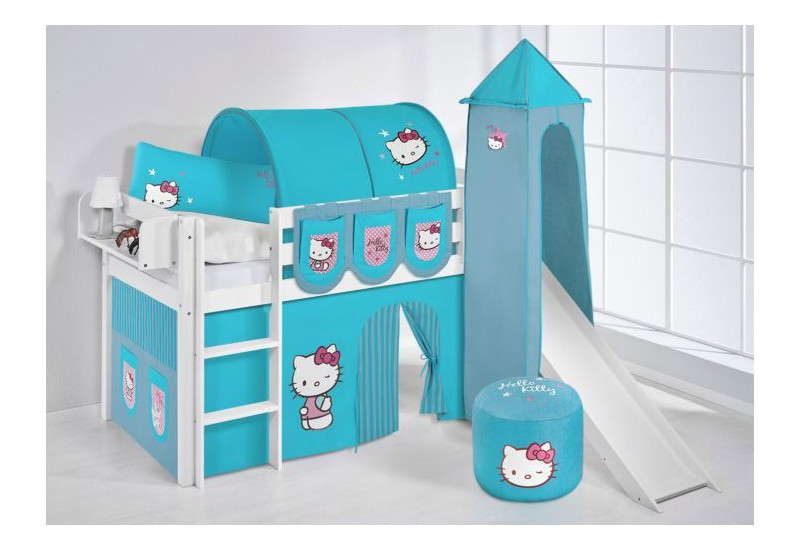 Cama Semi Alta Jelle Con Tobogan Con Cortinas Hello Kitty Azul